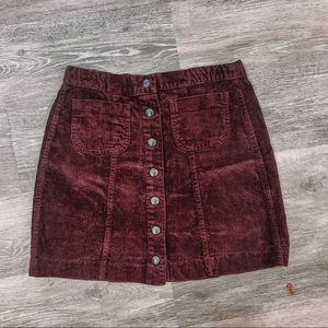 Brandy Melville corduroy button up skirt
